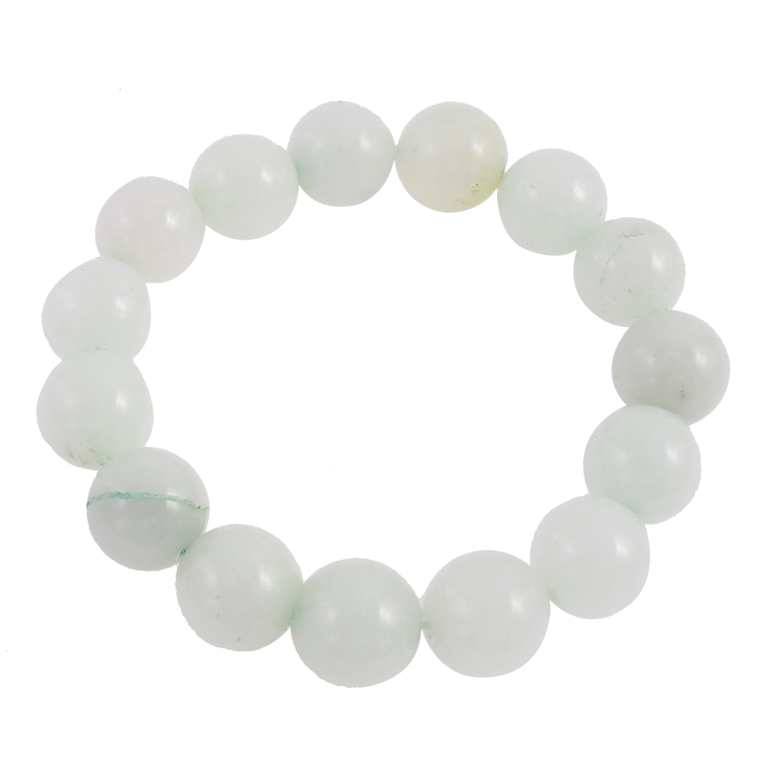 Lady Round Faux Jade Bead Linked Elastic Wrist Bracelet Bangle Decor White