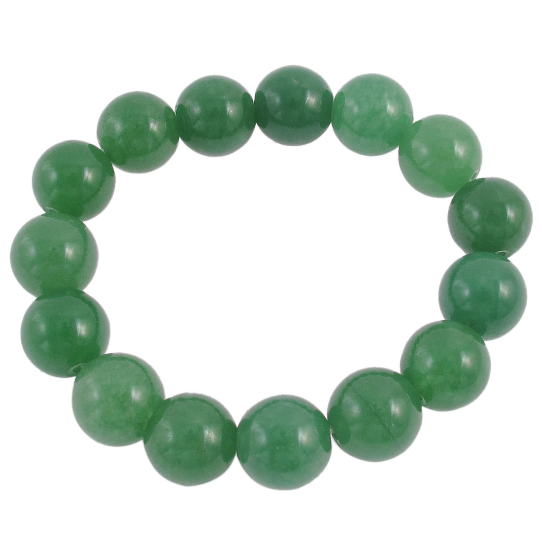 Lady Round Faux Jade Bead Linked Elastic Wrist Bracelet Bangle Decor Green
