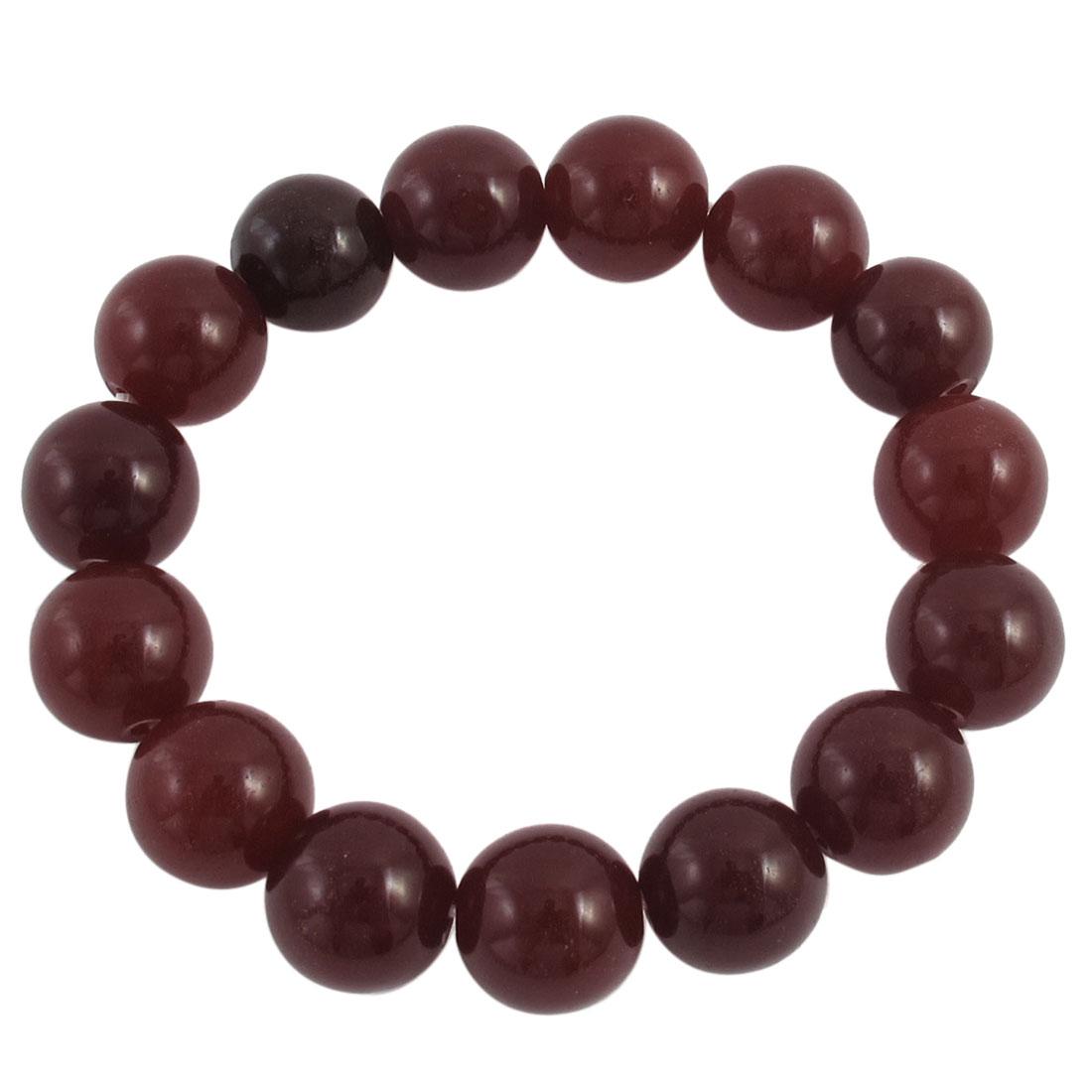 Lady Round Faux Jade Bead Linked Elastic Wrist Bracelet Bangle Decor Marroon