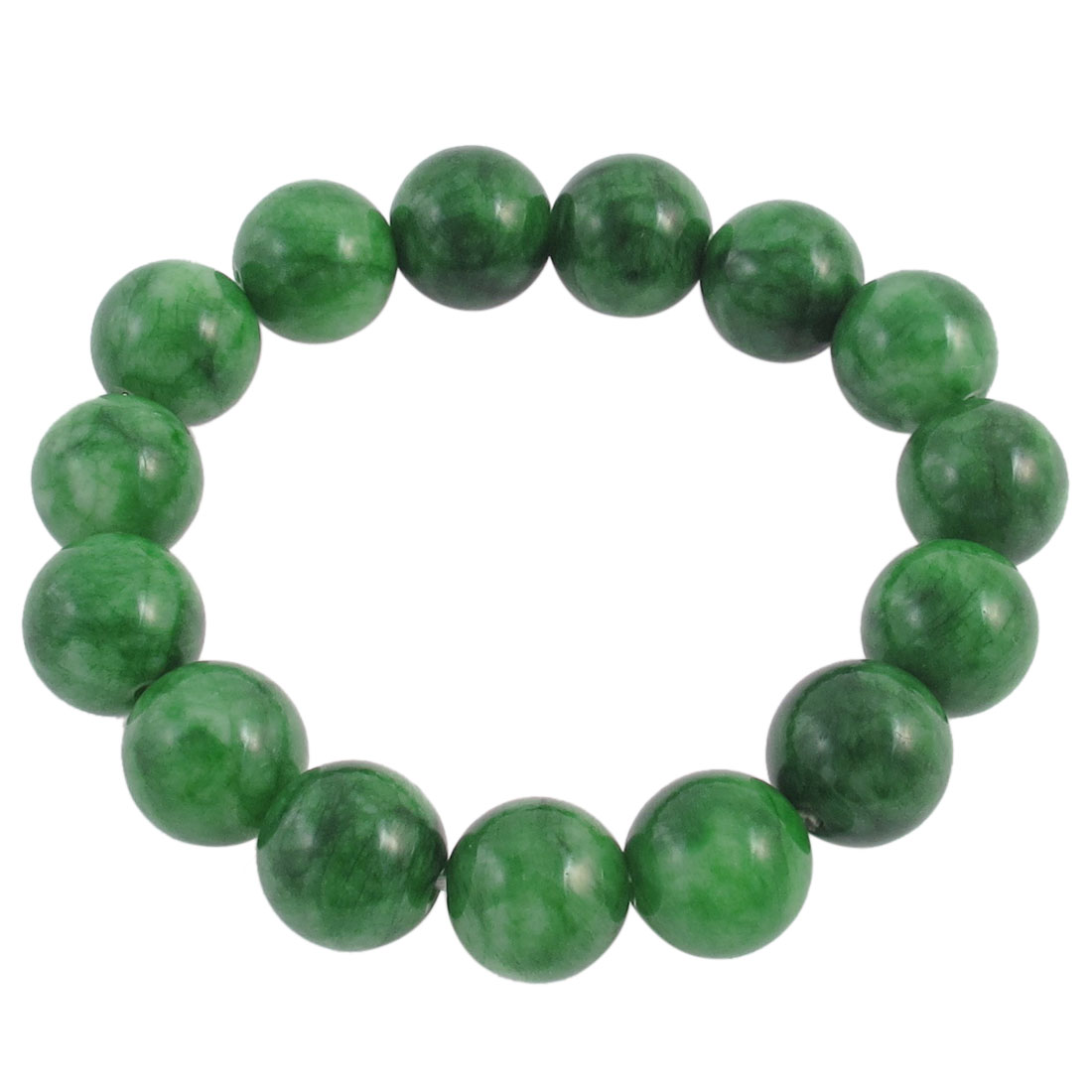 Woman Round Faux Jade Bead Linked Elastic Wrist Bracelet Bangle Green