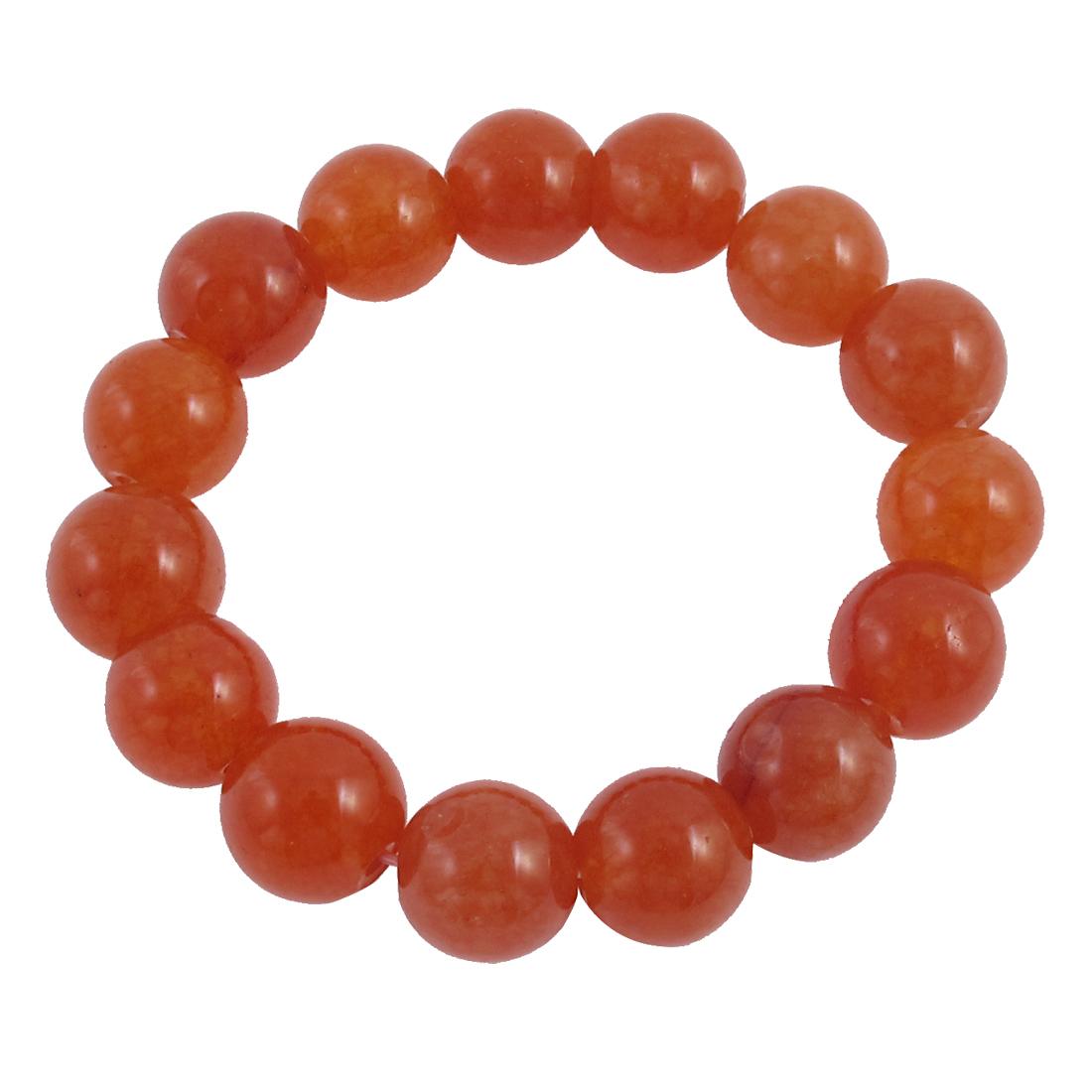 Lady Round Faux Jade Bead Linked Elastic Wrist Bracelet Bangle Decor Orange