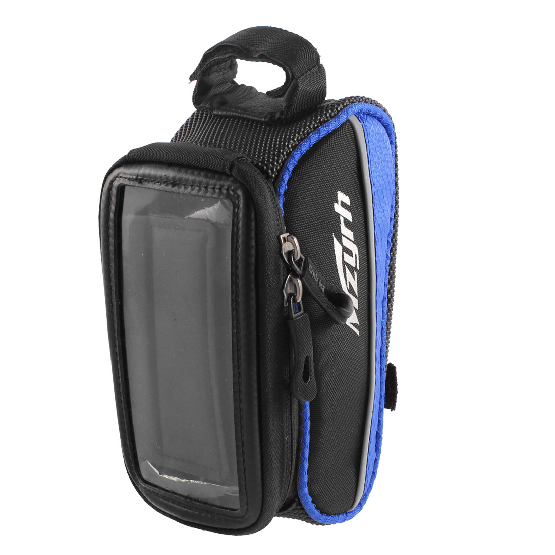 """Bicycle Front Top Tube Bag Pouch Storage Holder Black Blue for 4.8"""" Cell Phone"""
