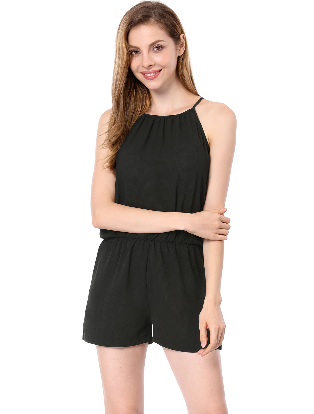 Ladies Cami Straps Stretchy Waist Sleeveless Casual Chiffon Playsuit Black S
