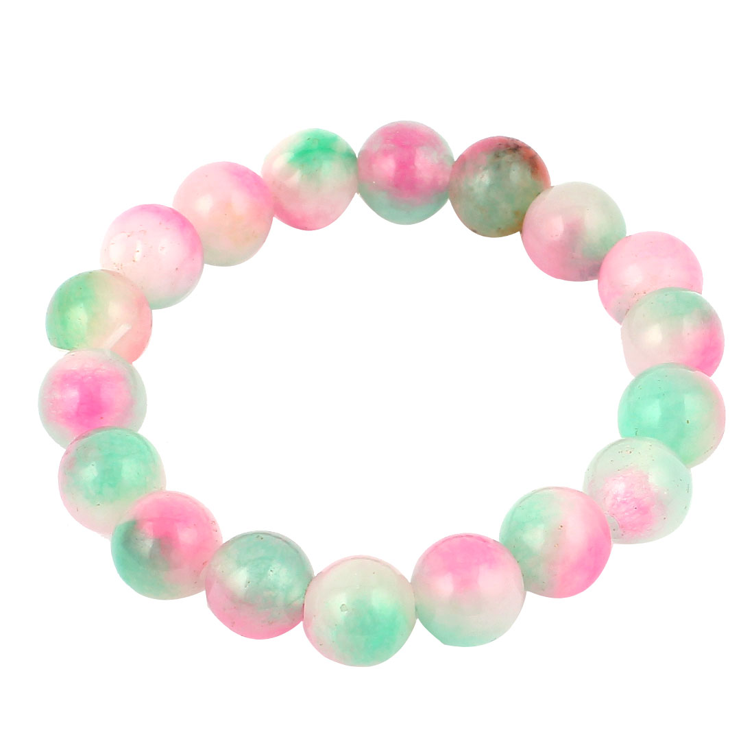 Elasticated 10mm Beads Linked Stretch Bracelet Wrist Decor Light Green