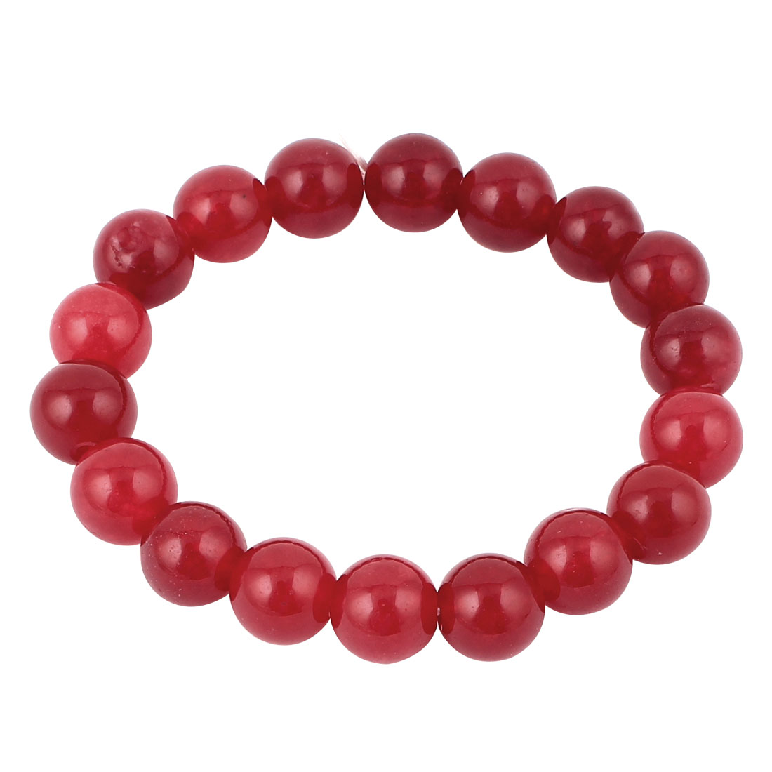 Elasticated 10mm Beaded Stretch Bracelet Jewellery Wrist Ornament Red