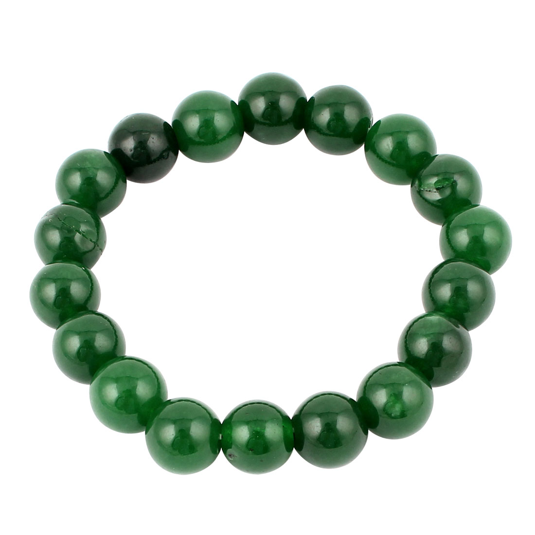 Elasticated 10mm Beaded Stretch Bracelet Jewellery Wrist Ornament Dark Green