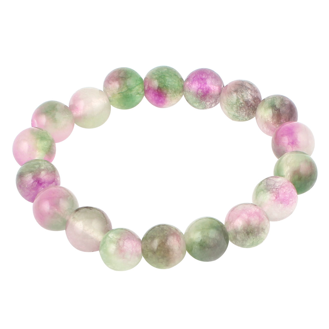 Elasticated 10mm Beads Linked Stretch Bracelet Wrist Decor Purple