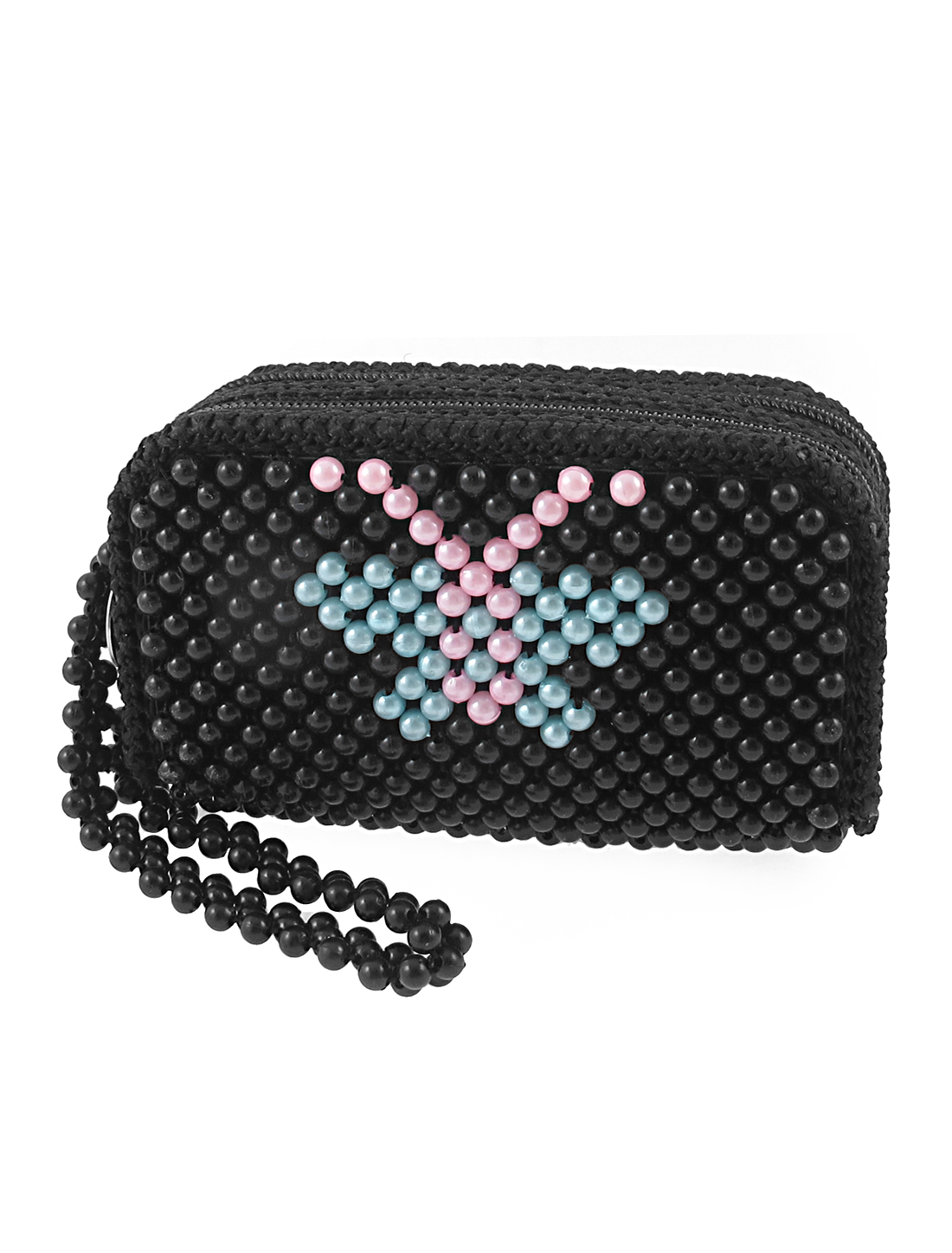 Lady Dual Zippers Beaded Rectangle Wallet Purse Bag Party Gift Black
