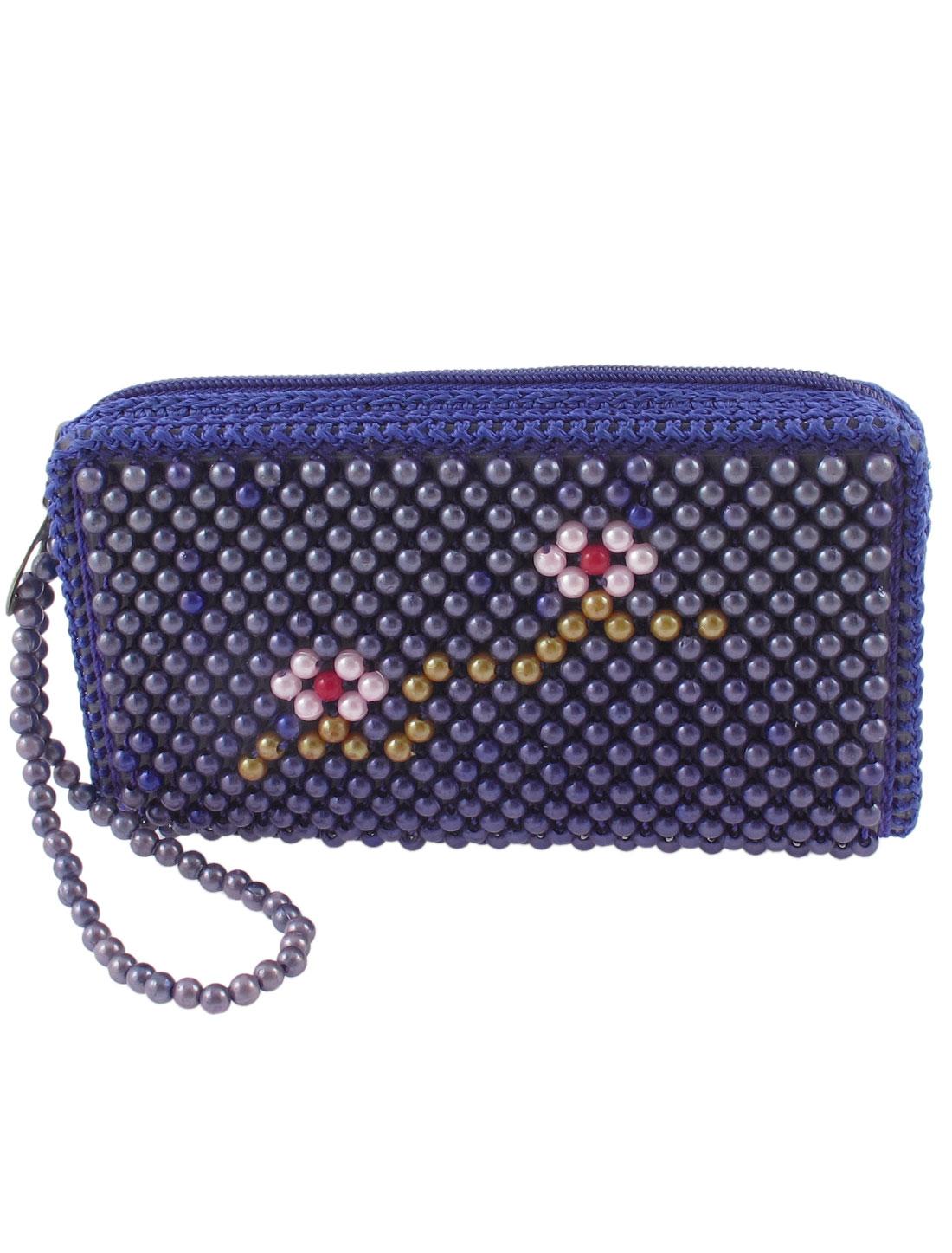 Woman Zipper Closure Rectangle Bead Sewing Purse Handbag Dark Blue