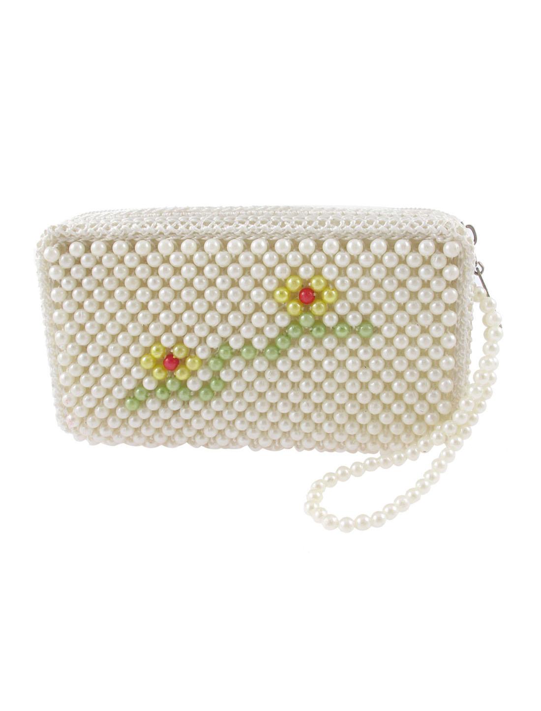 Woman White Zipper Closure Faux Pearl Adorn Flower Style Rectangle Purse Handbag
