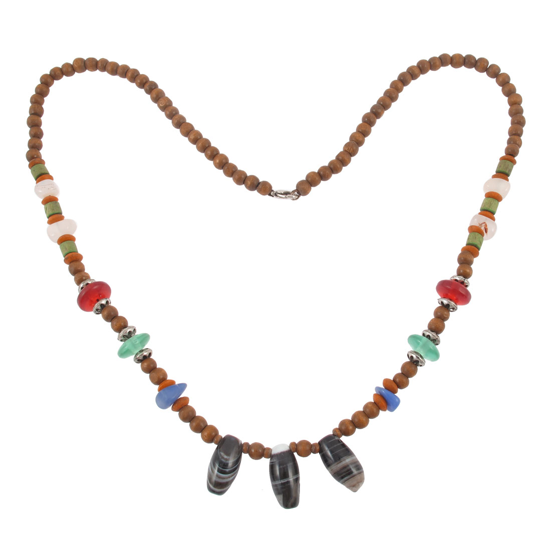 Wooden Beads Linked Lobster Clasp Closure Necklace Gift Pendant