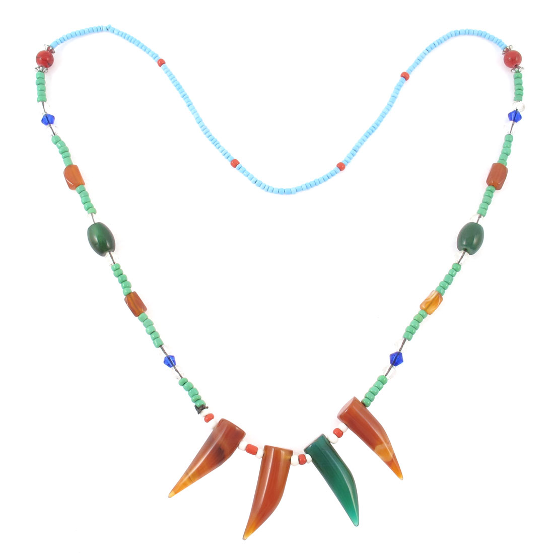 Lady Multicolor Mini Beads Accent Ox Horn Design Pendant Necklace Gift