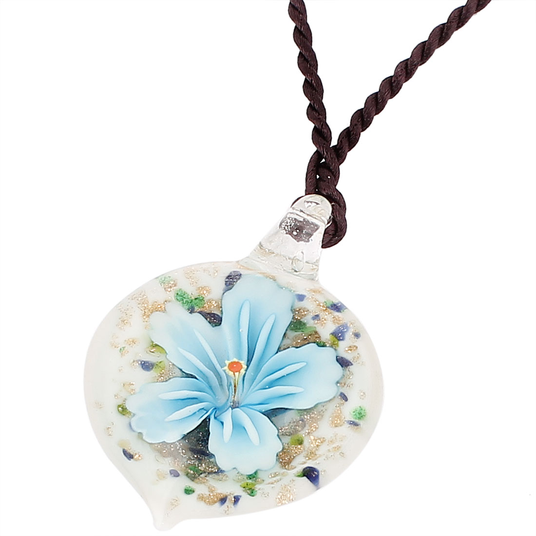 Shiny Powder Decor Glass Pressed Flower Pendant Necklace Neckwear Blue White