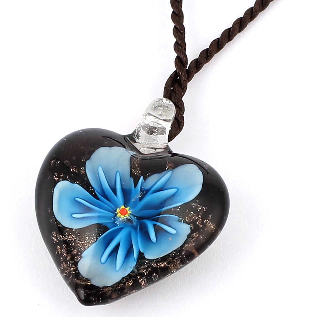 Shiny Heart Shape Glass Pressed Flower Pendant Necklace Neckwear Blue Black