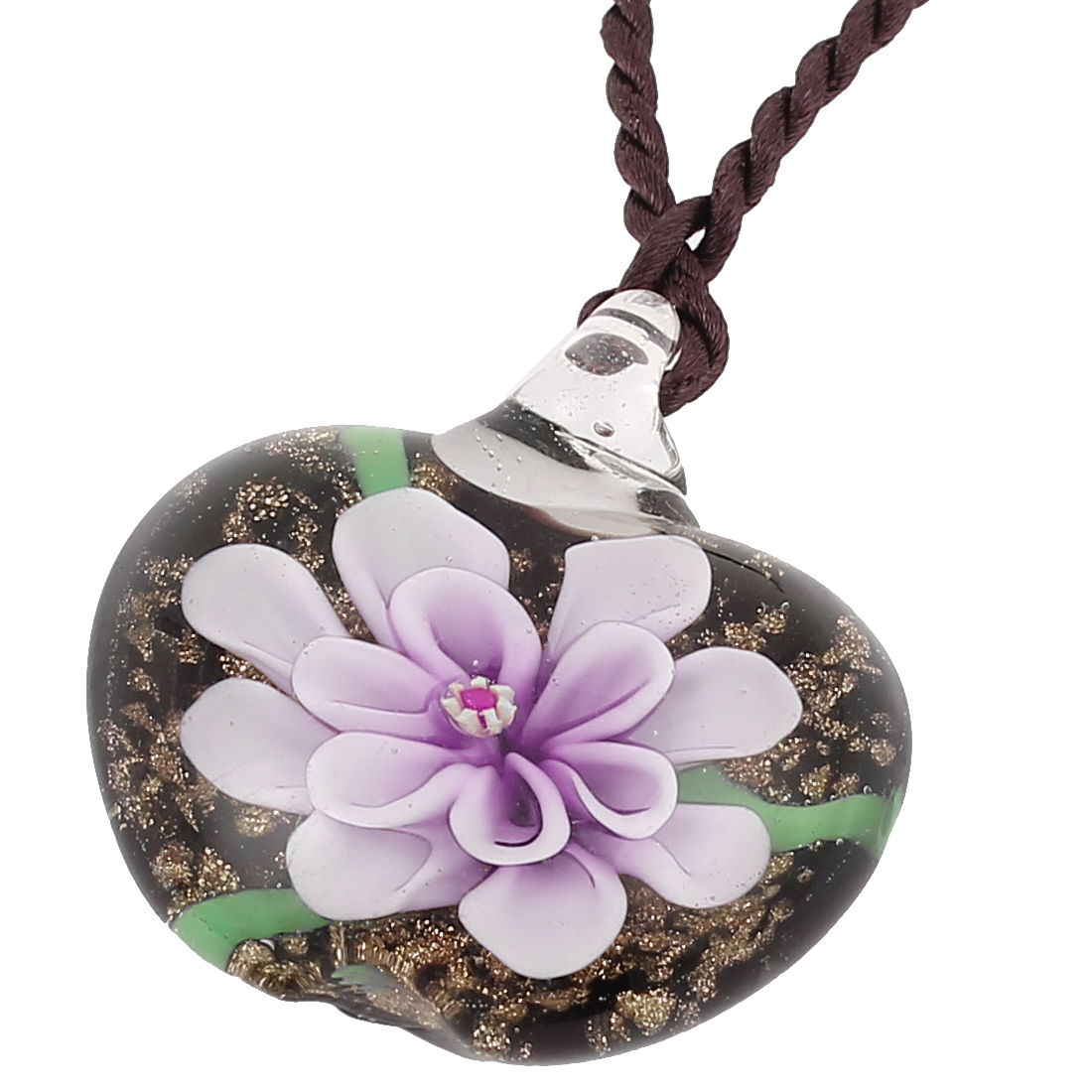 Women Heart Shape Floral Pendant Neck Ornament Necklace Light Purple Black
