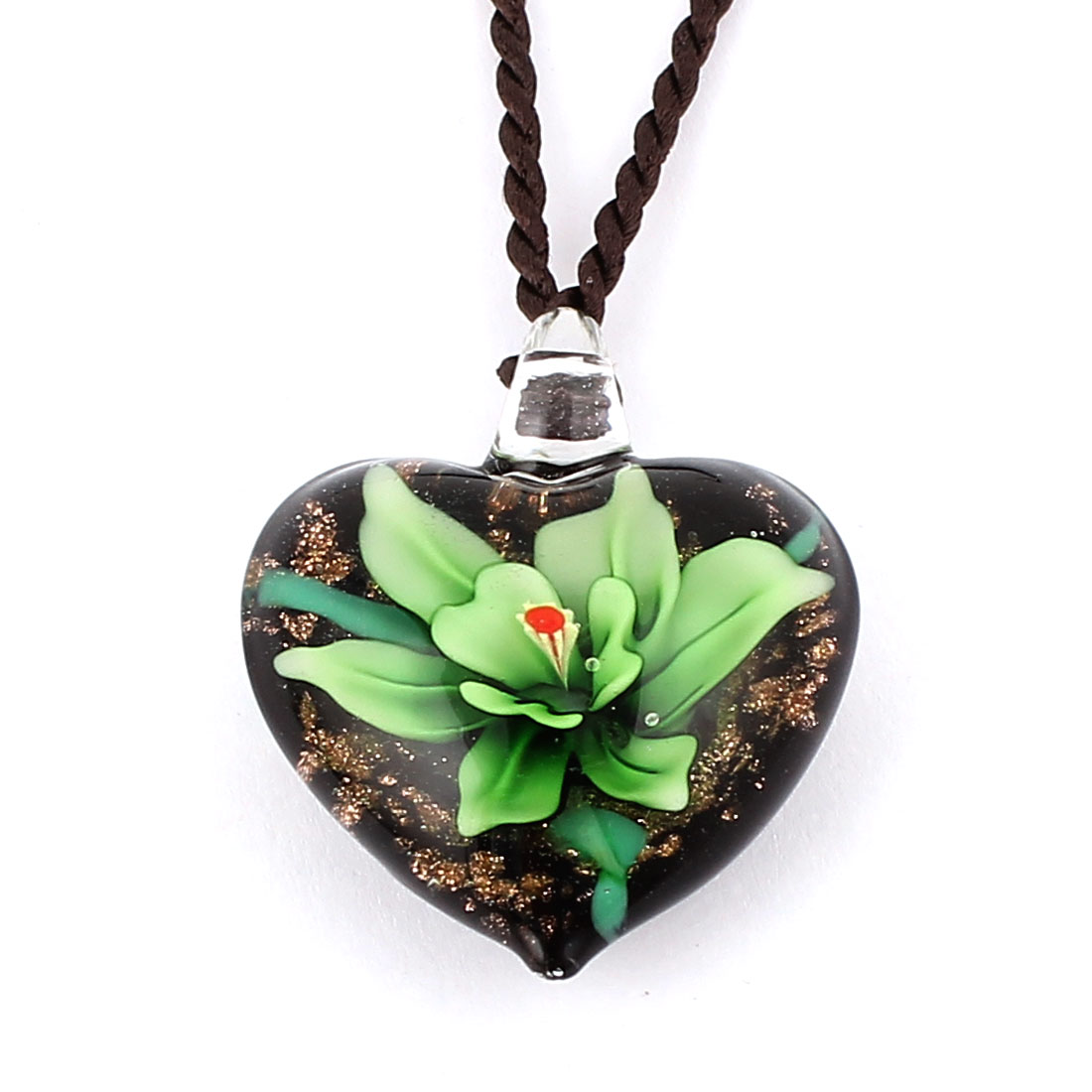 Nylon String Heart Style Glass Pressed Flower Pendant Necklace Green Black