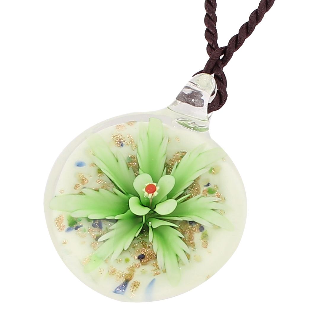Nylon String Glass Pressed Flower Design Pendant Necklace Green White