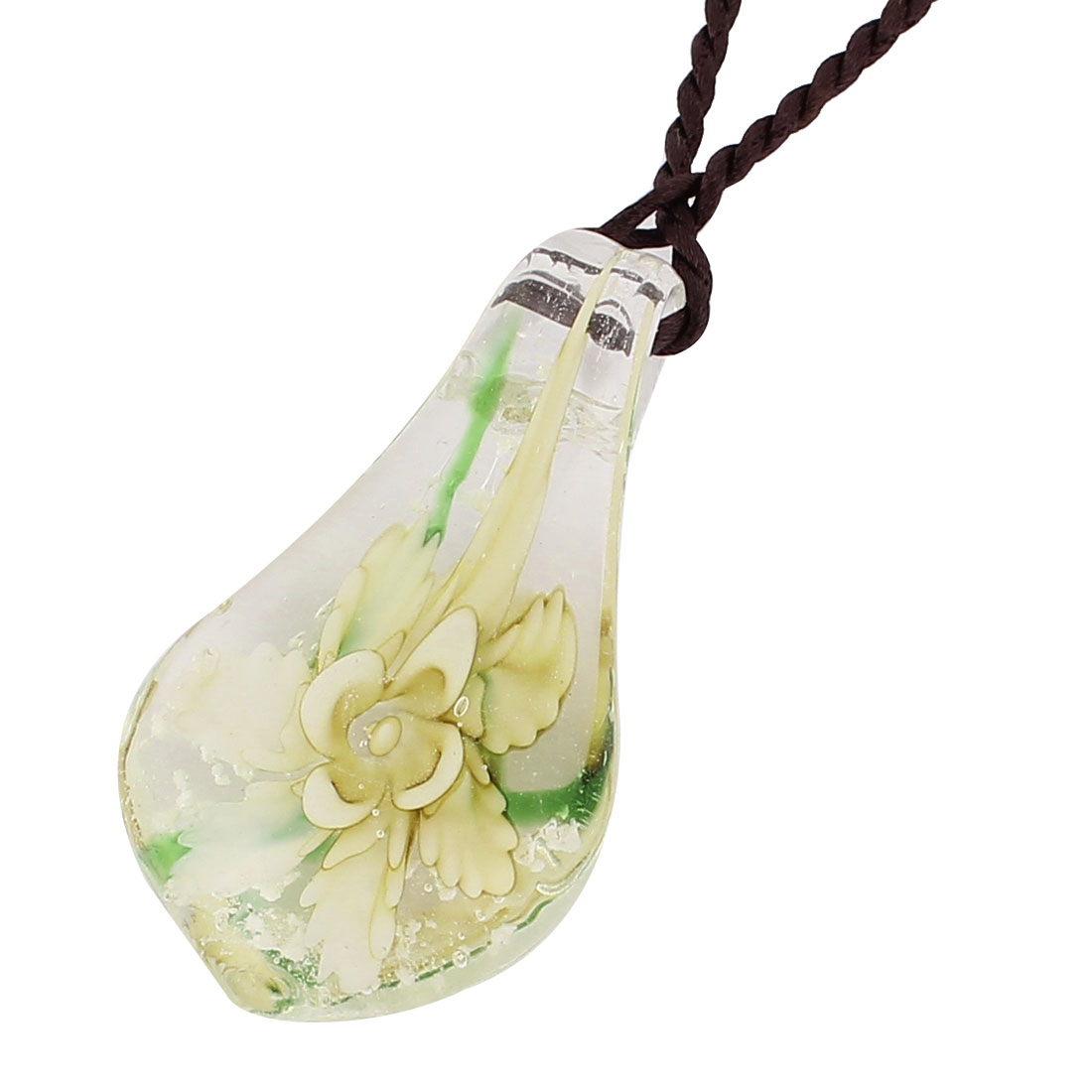 Nylon String Glass Pressed Floral Pendant Necklace Neckwear Clear Beige