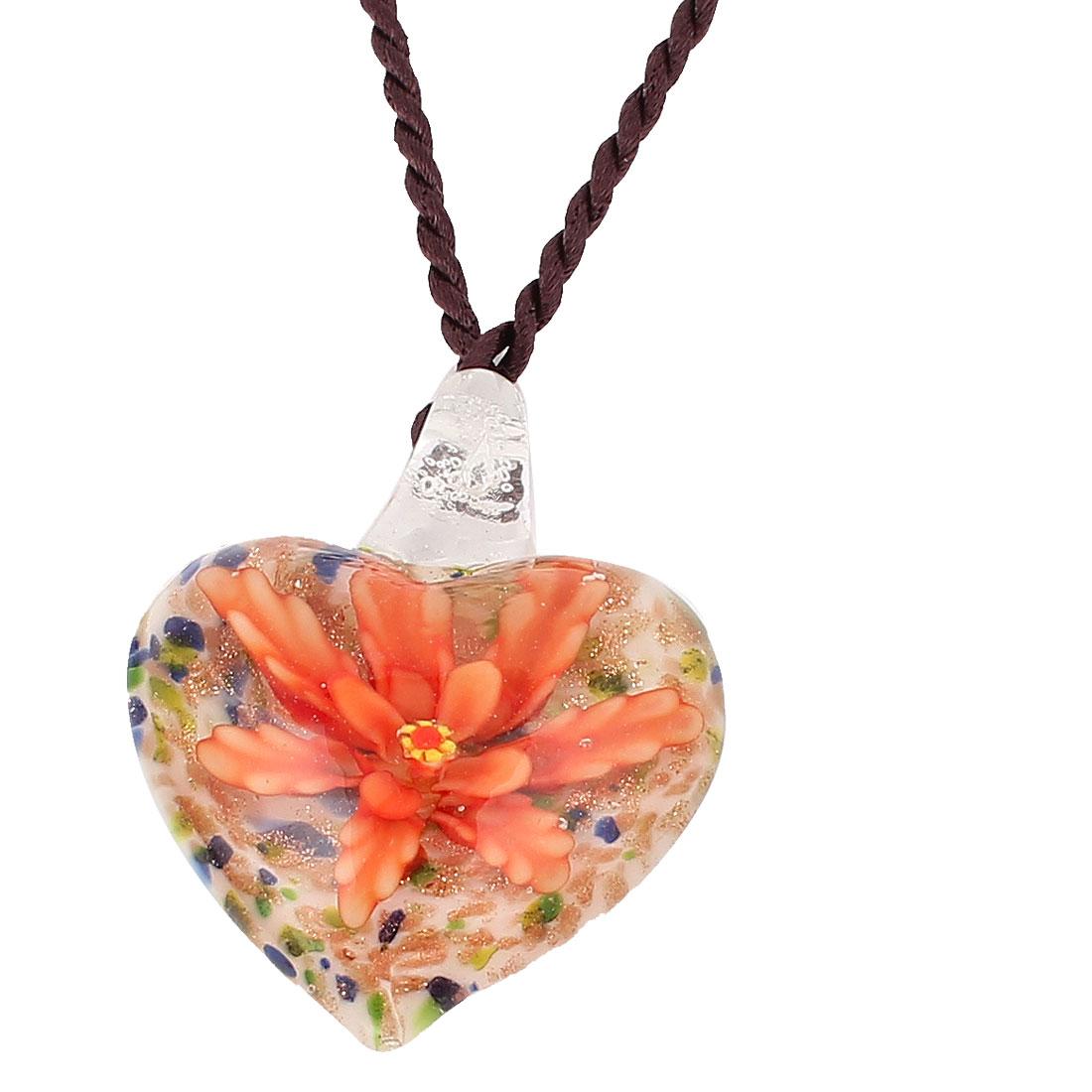 Shiny Powder Heart Glass Flower Inside Style Pendant Necklace Orange White