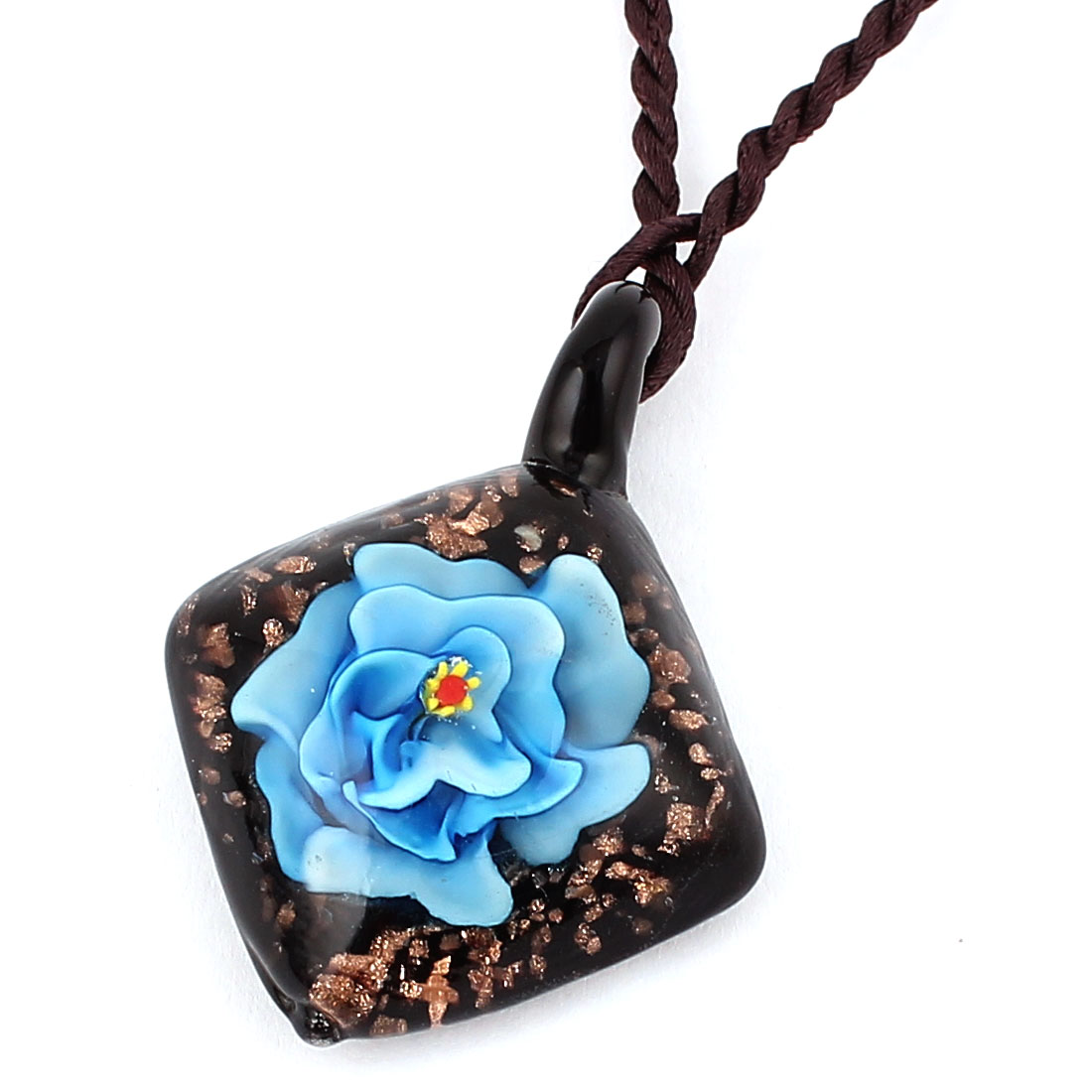 Glass Pressed Flower Square Shape Pendant Necklace Neckwear Sky Blue Black