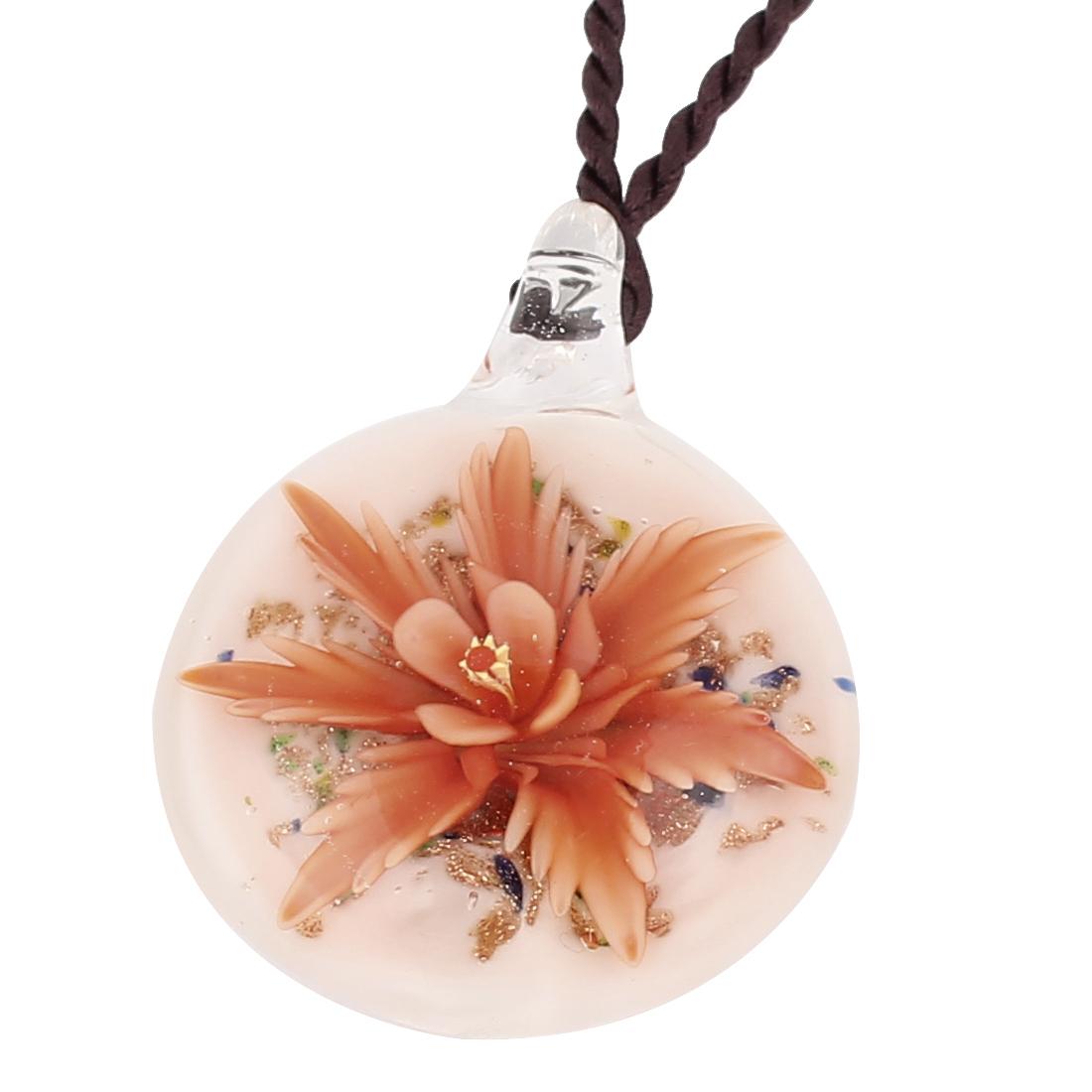 Nylon String Glass Pressed Flower Design Pendant Necklace Orange White