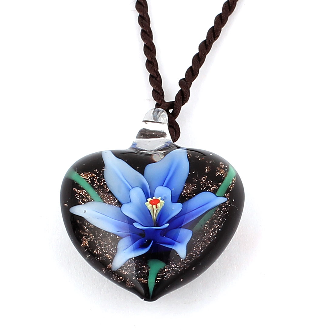 Nylon String Heart Style Glass Pressed Flower Pendant Necklace Blue Black