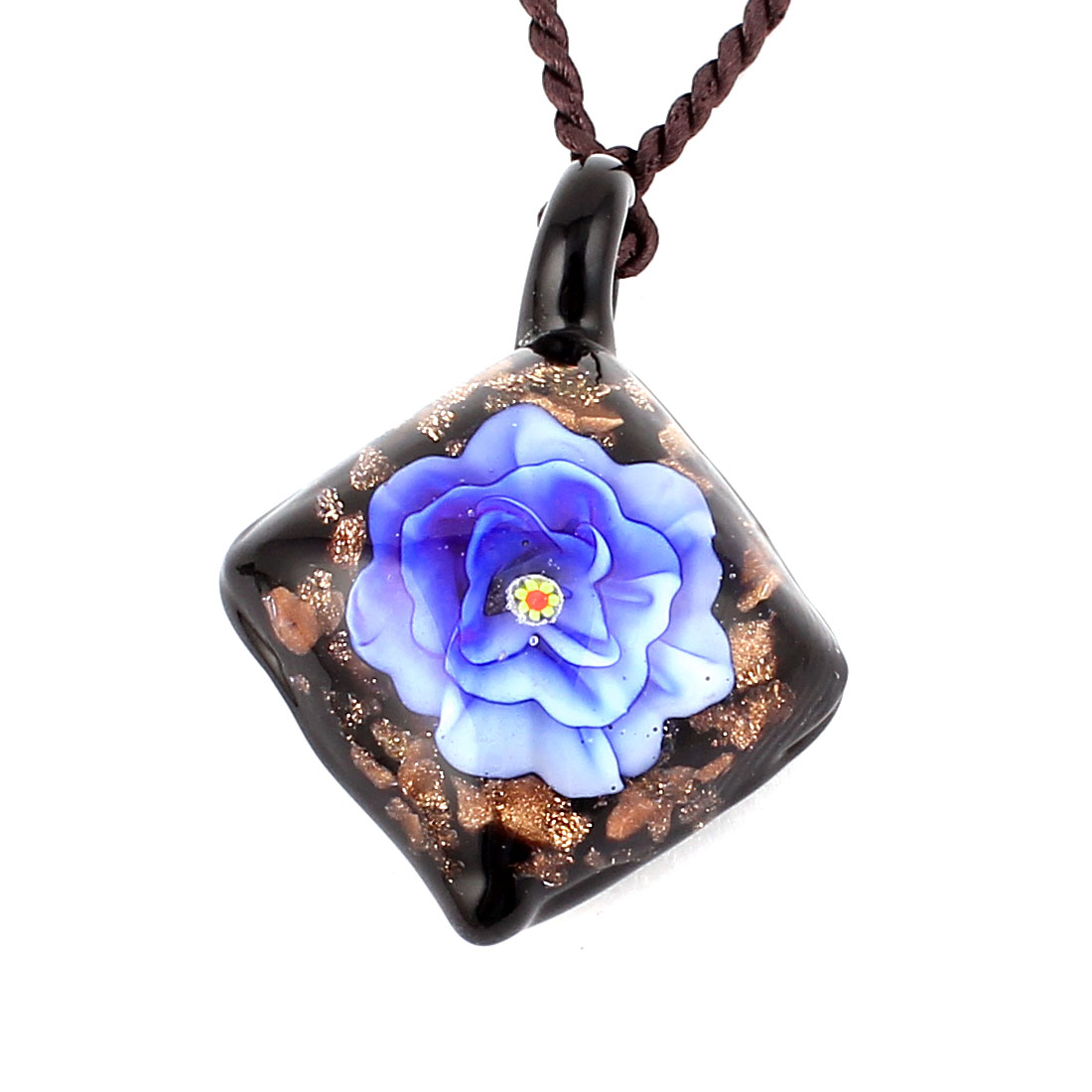 Glass Pressed Flower Style Square Pendant Necklace Neckwear Blue Black