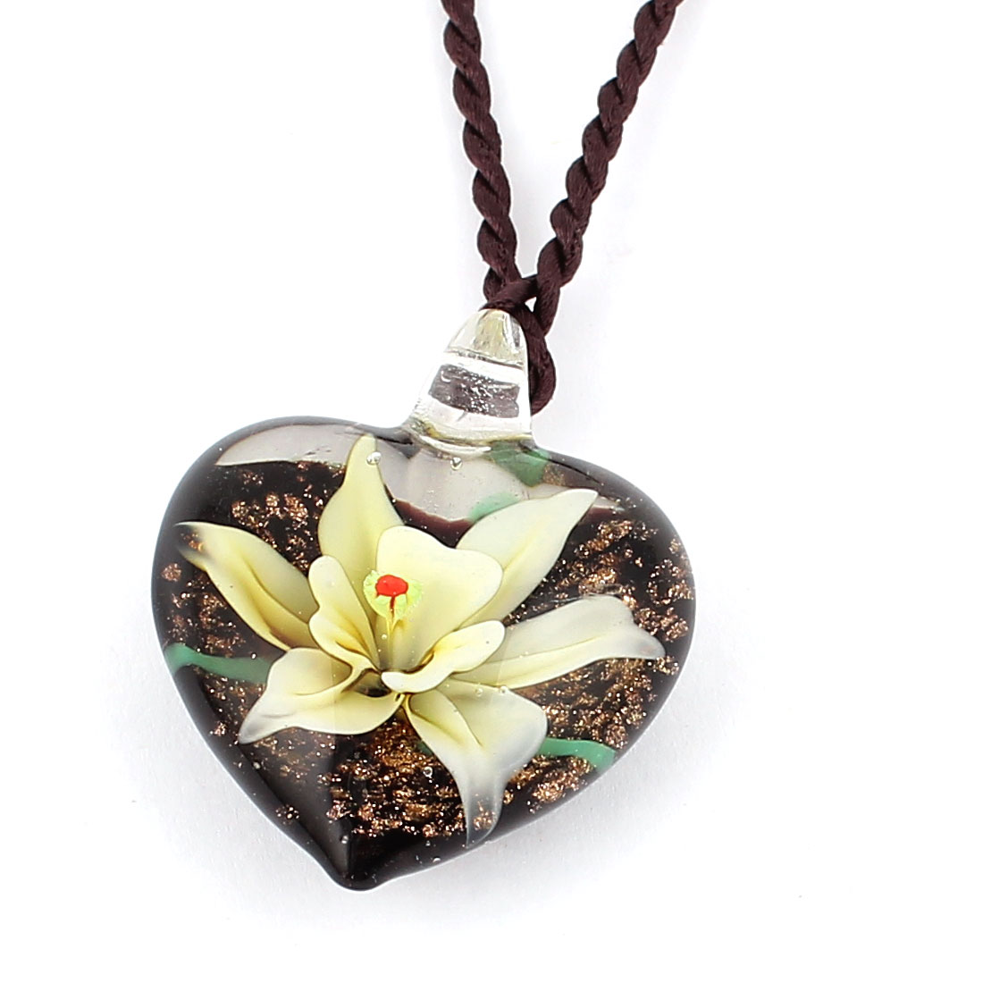 Heart Shape Glass Pressed Floral Pendant Necklace Light Yellow Black