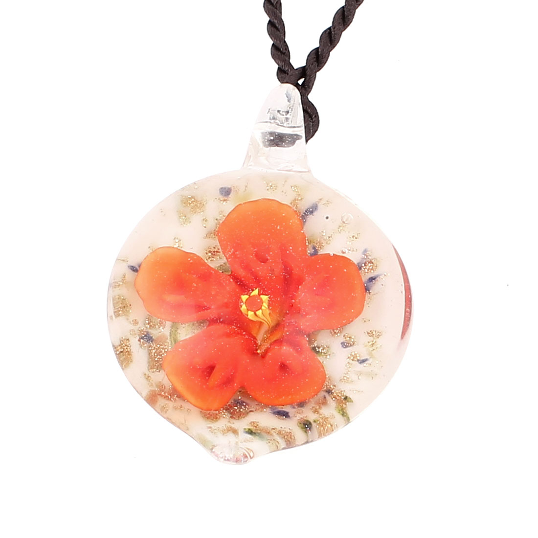 Glass Pressed Flower Style Pendant Necklace Jewellery Orange White