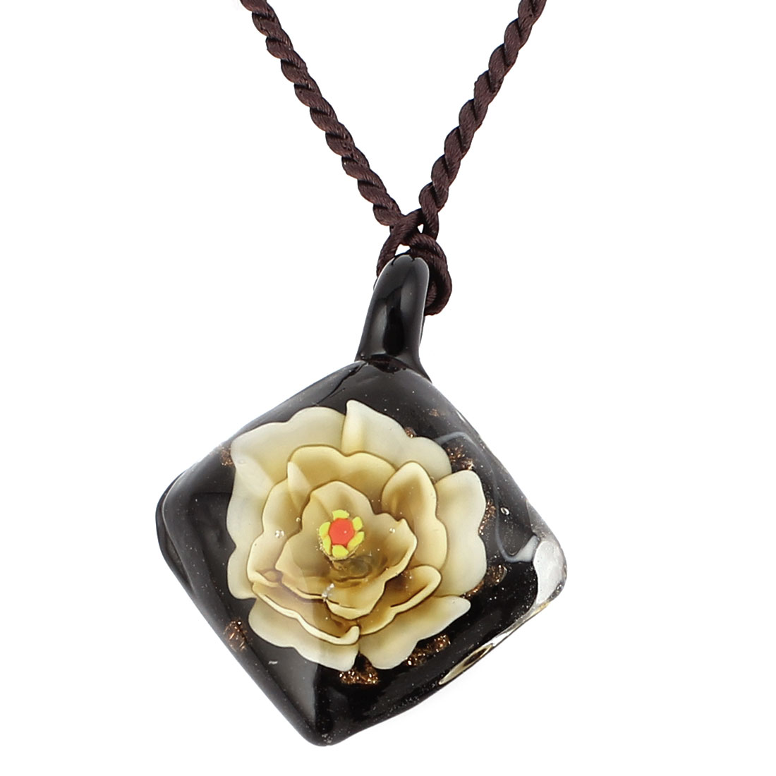 Glass Pressed Flower Square Shape Pendant Necklace Neckwear Light Yellow Black