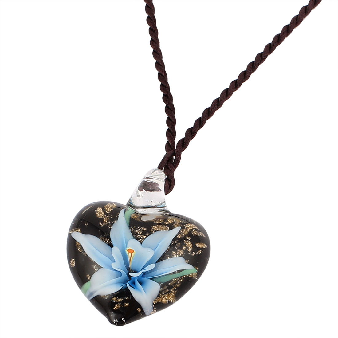 Heart Shape Glass Pressed Floral Pendant Necklace Neckwear Blue Black