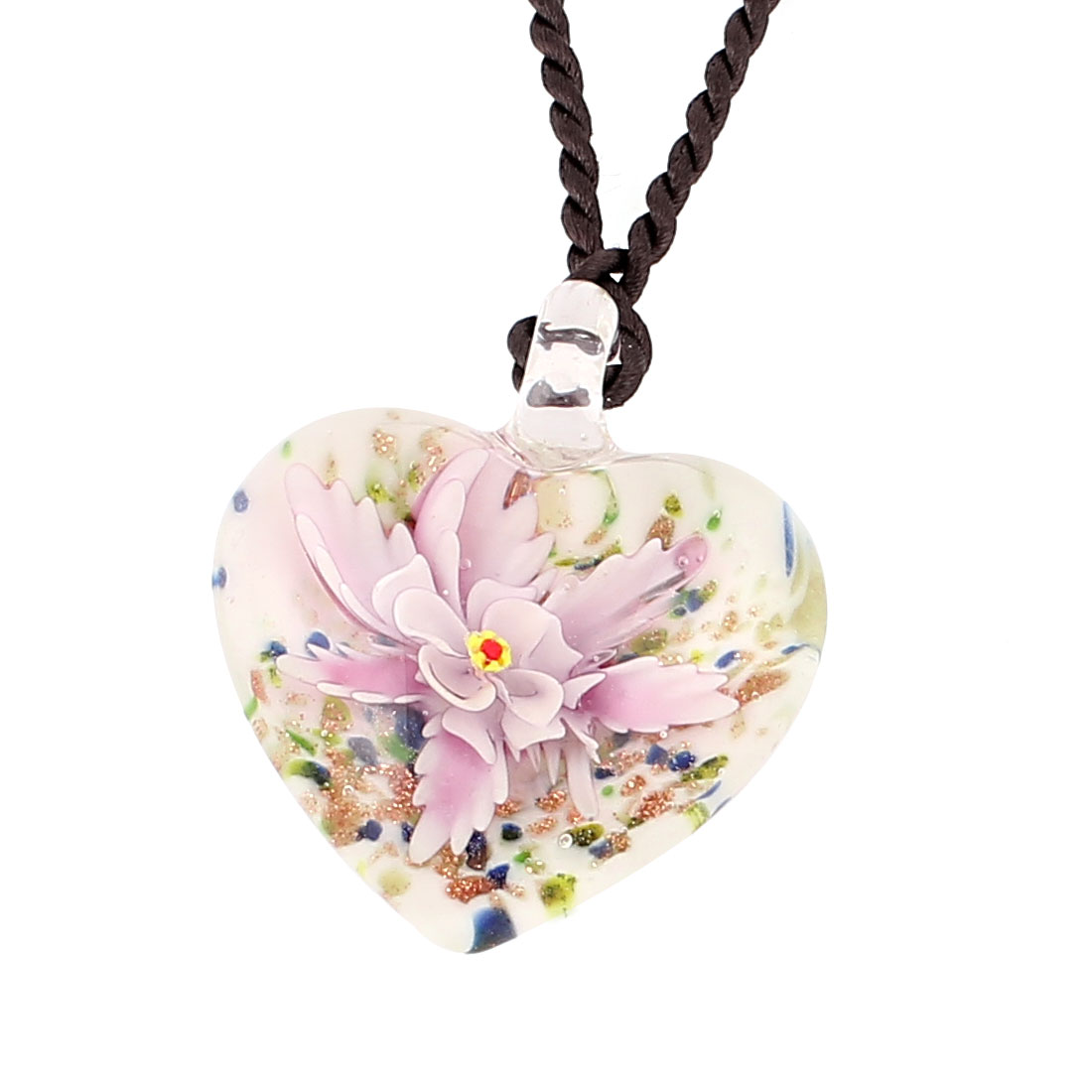 Shiny Powder Heart Glass Flower Inside Style Pendant Necklace Pink White