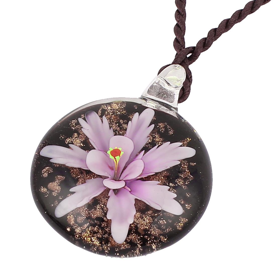 Women Handmade Flower Lampwork Murano Necklace Light Purple Black