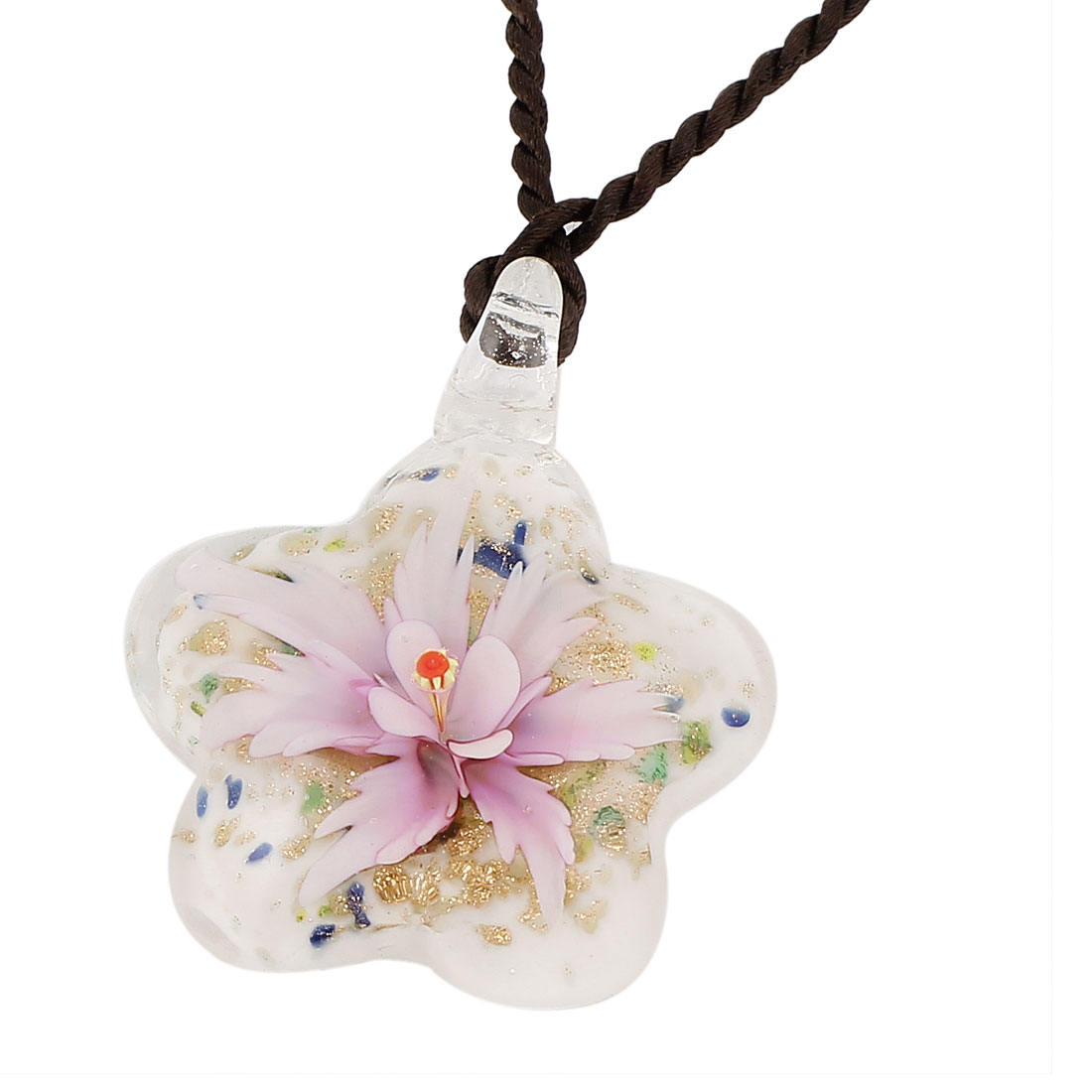 Glass Pressed Flower Design Women Pendant Necklace Light Purple White