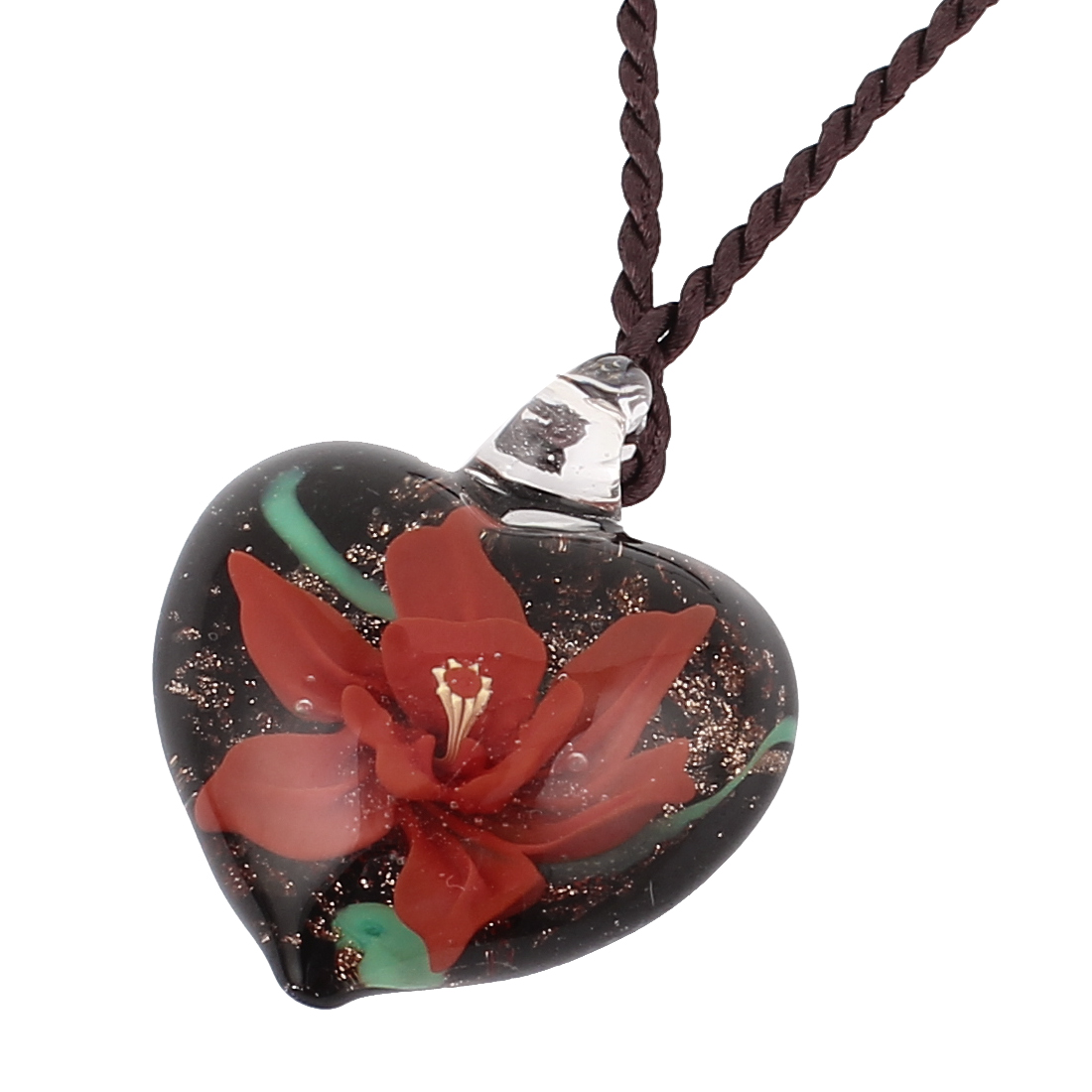 Heart Shape Glass Pressed Floral Pendant Necklace Neckwear Red Black