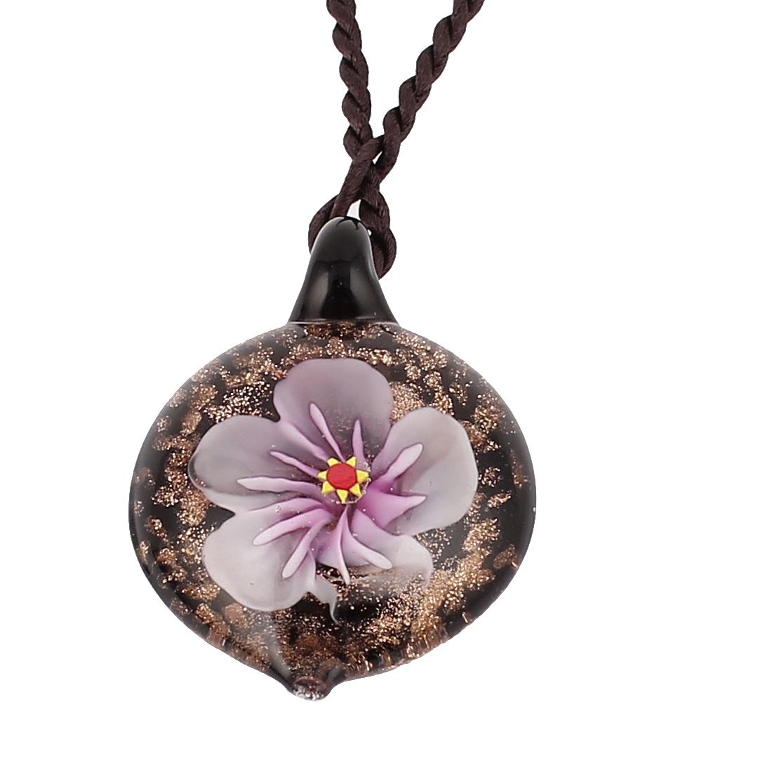 Round Glass Pressed Flower Design Pendant Necklace Light Purple Black