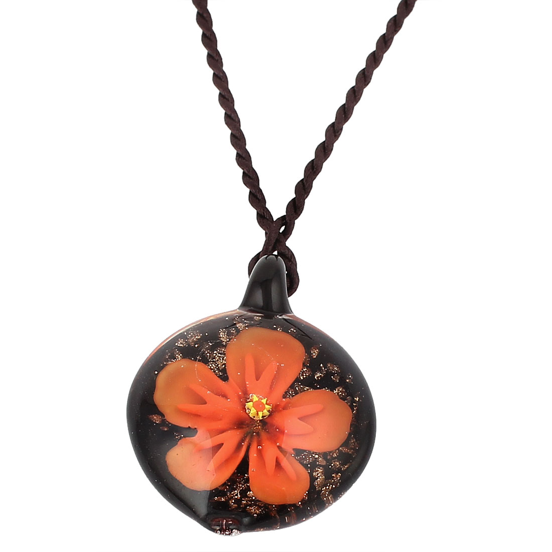 Orange Flower Pattern Inside Glass Pendant Necklace Neckwear for Women