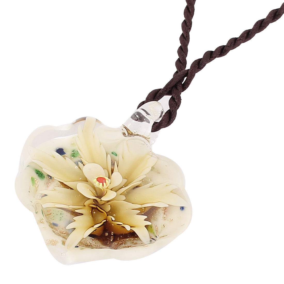 Heart Shape Flower Pressed Glass Pendant Necklace Yellow White