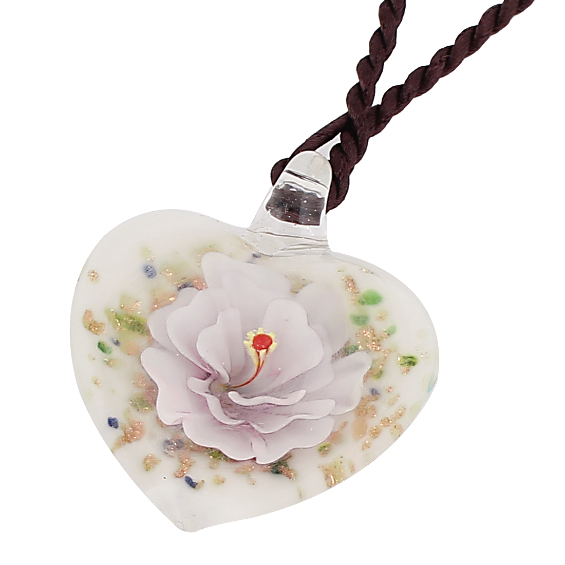 Lady Glass Pressed Flower Inside Style Pendant Necklace Pink White