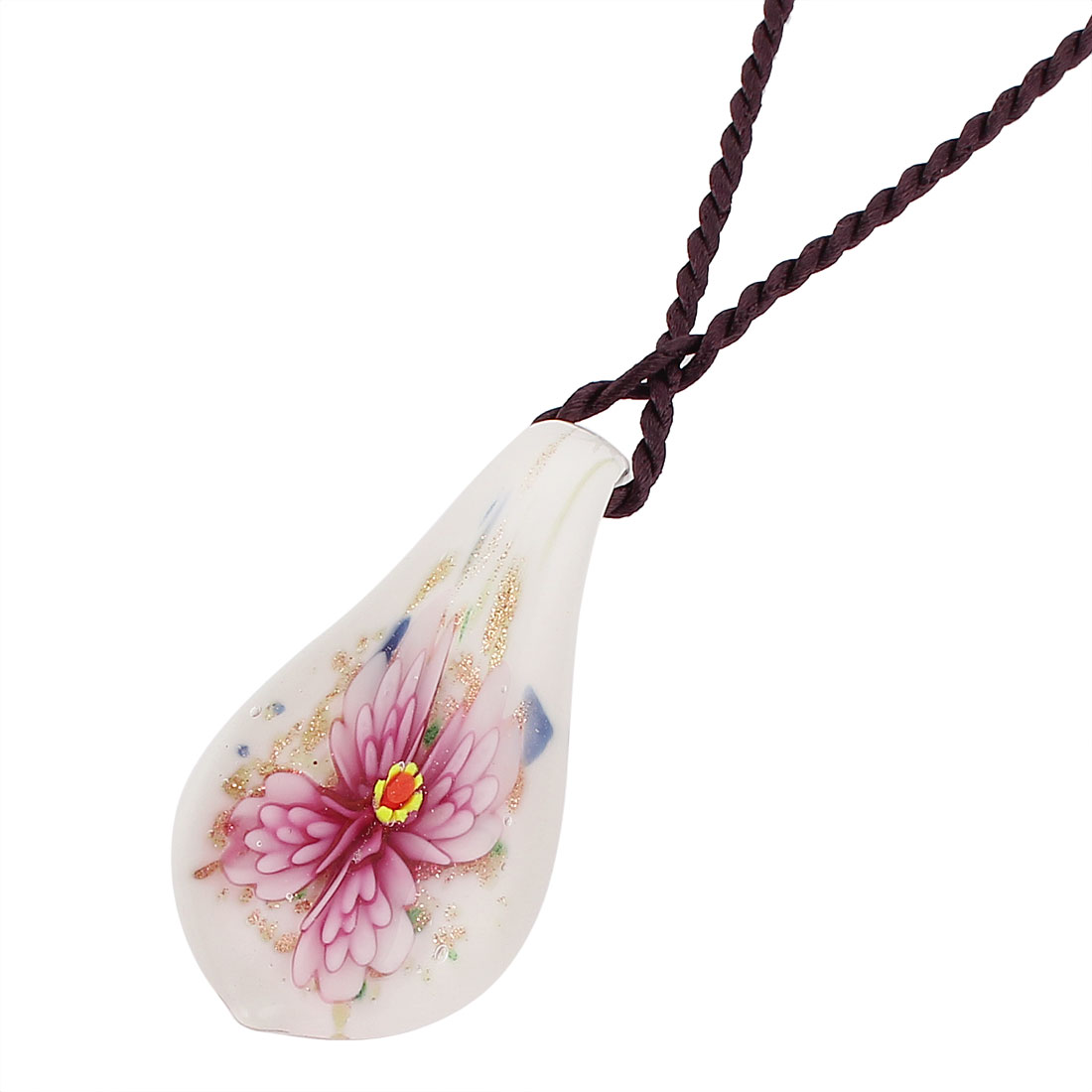 Nylon String Glass Pressed Floral Designed Pendant Necklace Neckwear Pink White