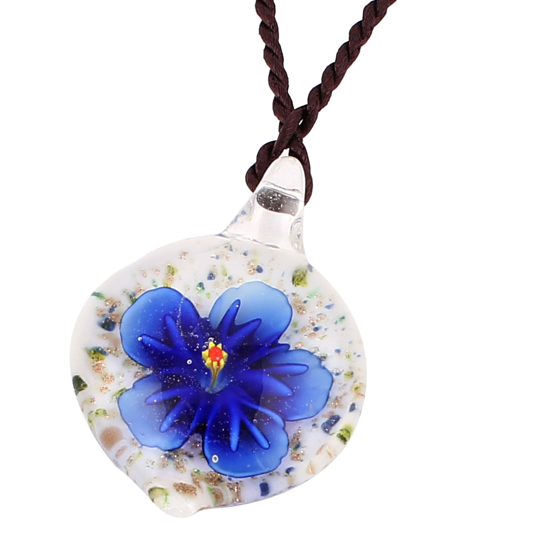 Glass Pressed Flower Style Pendant Necklace Jewellery Blue White