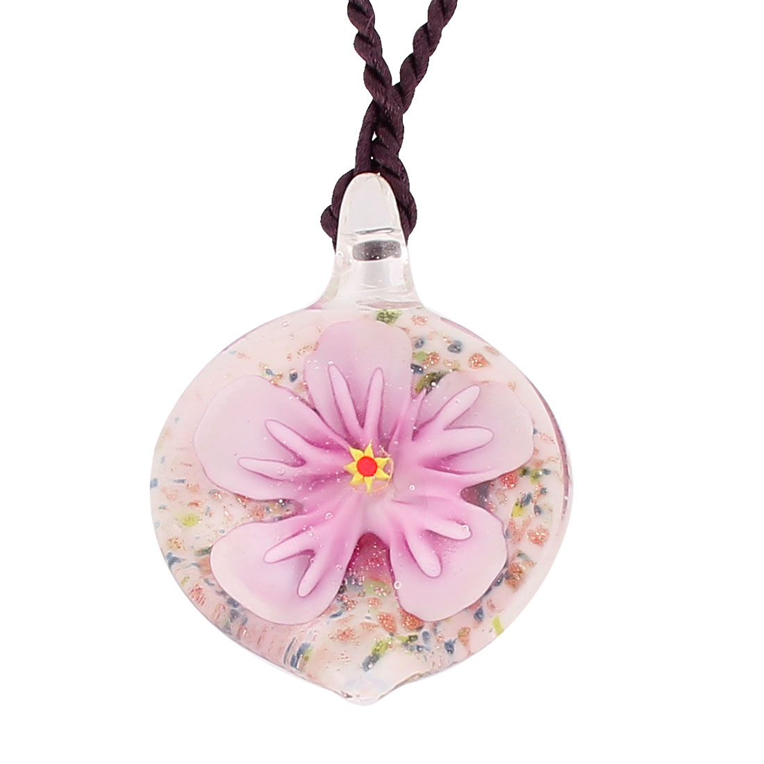 Glass Pressed Flower Style Pendant Necklace Jewellery Pink White