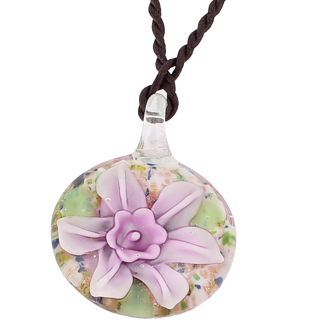 Glass Pressed Flower Design Oval Pendant Necklace Pink White
