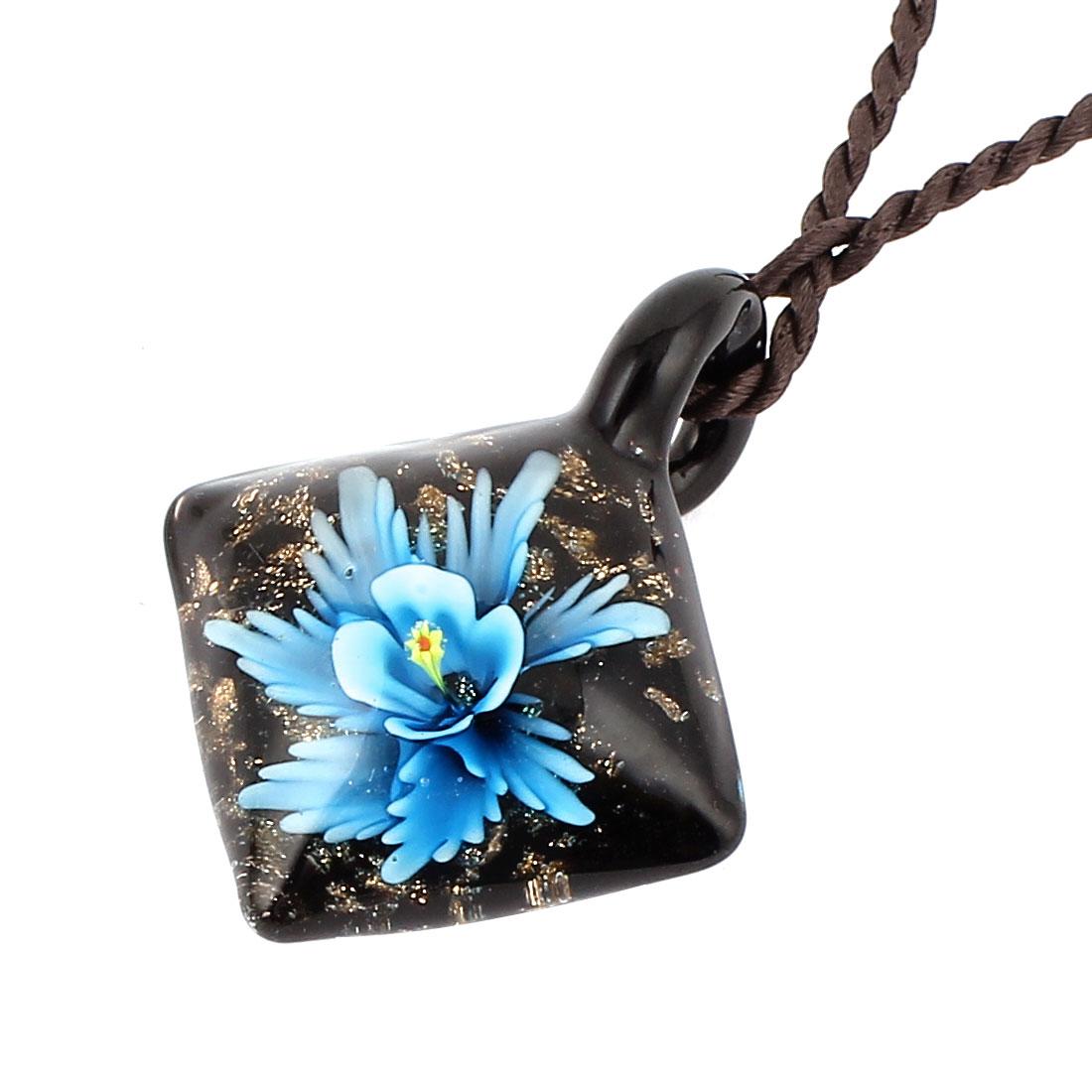 Square Glass Pressed Flower Design Pendant Necklace Neckwear Black Blue
