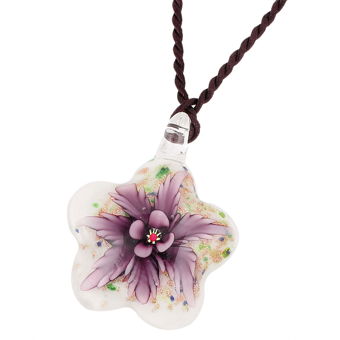 Lady Flower Pressed Design Glass Shining Necklace Purple White