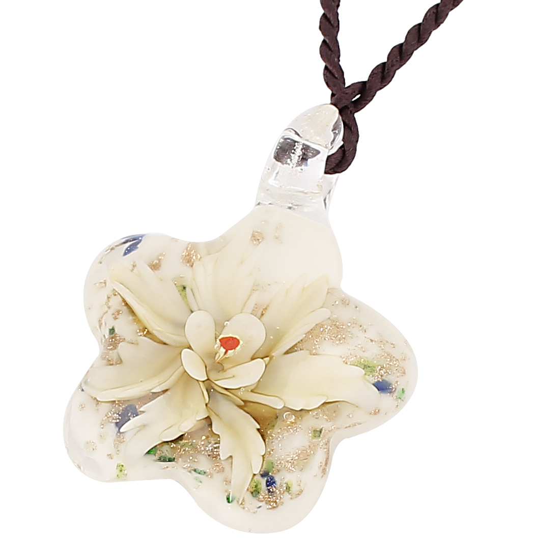 Lady Nylon String Floral Shape Glass Pendant Necklace Yellow White