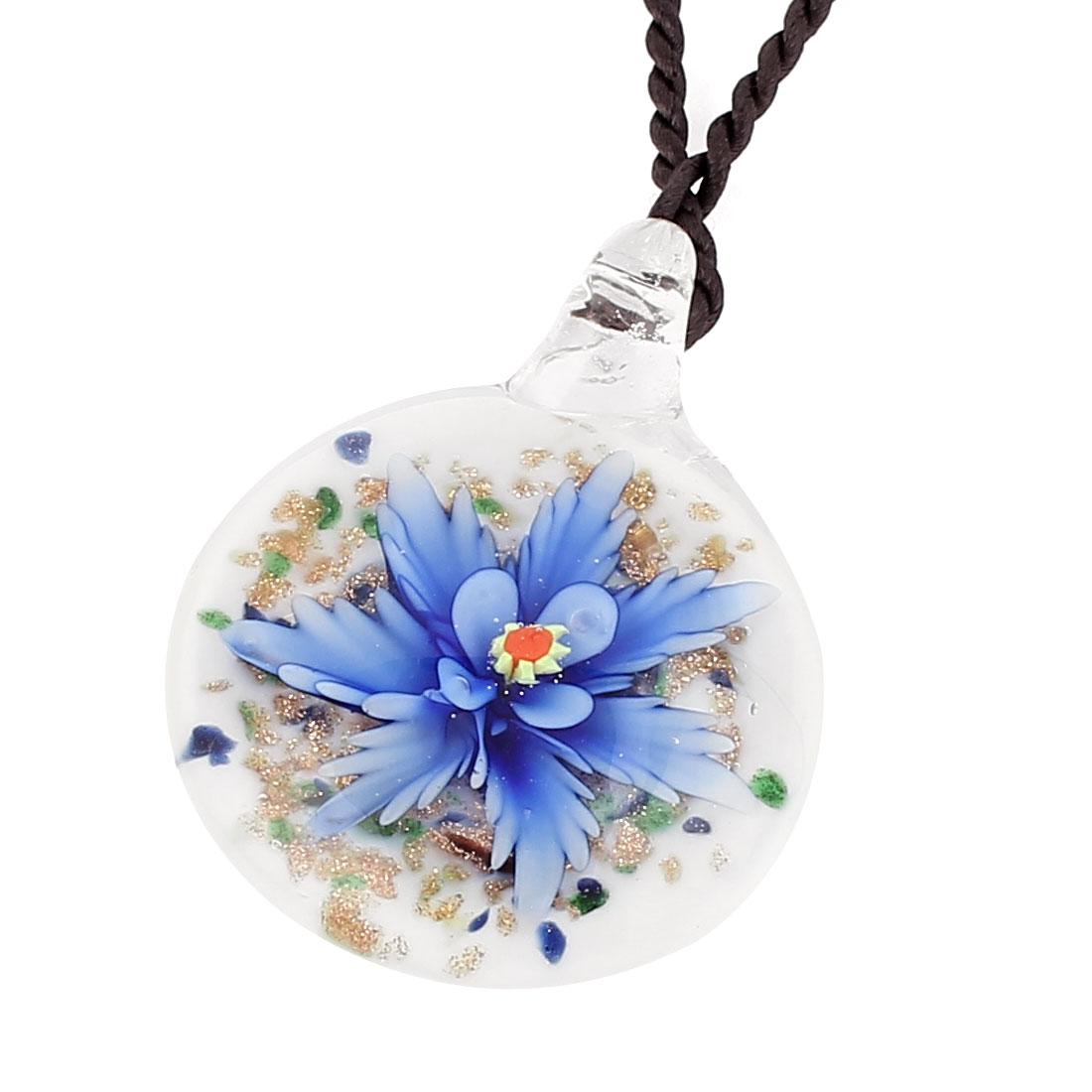 Nylon String Glass Pressed Flower Design Pendant Necklace Blue White