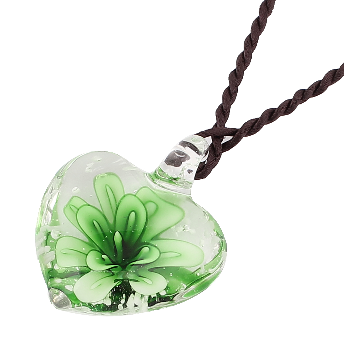 Transparent Glass Green Flower Heart Shape Pendant Necklace for Lady