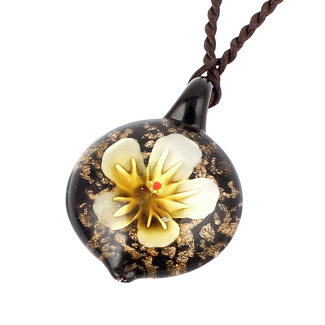 Shiny Powder Round Glass Pressed Flower Design Pendant Necklace Beige Black