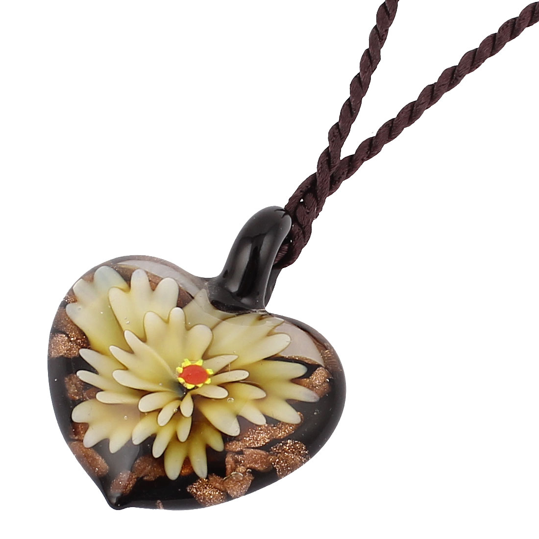 Beige Flower Inside Design Glass Heart Shape Pendant Necklace for Women